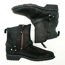 New Teva Womens US 7 EU 38 Segundo Black Leather Zip Mid Boots Booties
