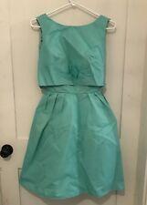 Vintage Union Made Part Prom Dress Aqua Blue Green Color Sleeveless Satin Lines