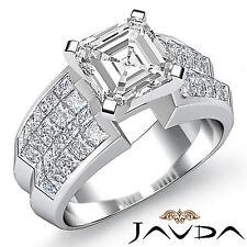 Brillante Asscher Diamante Invisible Anillo de Compromiso GIA F SI1 14k Oro