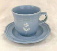 "Pfaltzgraff Bouquet Gazebo Blue Flat Cup & Saucer Set 3 1/4"""