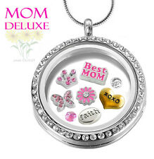 MOM DELUXE CRYSTAL Memory Locket Pendant Set w/ Mother Floating Charms, Necklace