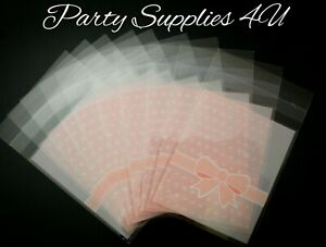 Baby Pink cello bags. 10pk. Baby Shower/party/ cookies/thank you/bow/polka dot
