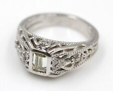 14K WHITE GOLD VINTAGE FILIGREE EMERALD CUT DIAMOND RING SIZE 7.25 - (399B-5)