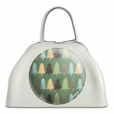 Spunky Christmas Trees White Metal Cowbell Cow Bell Instrument