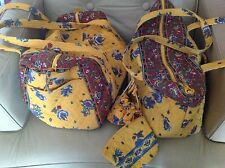 Large Vera Bradley French Yellow 4 PC Duffle/Tote Set Makeup Jewelry Bag Retired