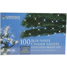 100 Blue White Indoor Outdoor Chaser Christmas Xmas Lights With Ultra Bright LED