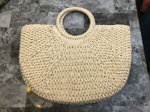 NEW Straw Beach Tote Bag Summer Outdoors Lined Large Size Unbranded