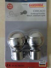 2 x Gardinia Endknopf Kugel CHICAGO 20 mm Edelstahl Gardinenstangen 10011162