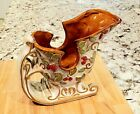 CHRISTMAS SLEIGH Ceramic CandyDish Planter Decor Embossed Leaves Berries 9'x3.5'