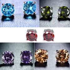 5 pcs Lot Morganite Peridot Garnet Citrine Onyx Gemstone Silver Stud Earrings