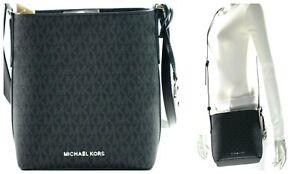NWT$328 - Michael Kors Kimberly SM Bucket Messenger Signature Leather Bag Black