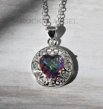 925 Silver Mystic Rainbow Topaz Heart Gem Pendant Necklace ladies gift Crystal