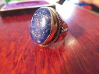 Super Toller 925 Silber Ring Blau Marmorierter Stein Oval Gros Schwer Breit Chic