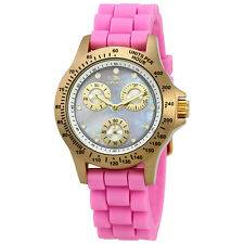 Invicta Speedway Multi-Function Mother of Pearl Dial Pink Silicone Ladies Watch
