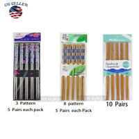 5 Pair Chinese Japanese Sushi Reusable Wooden Stainless Chopsticks Multi Patter