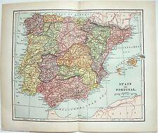Original 1895 Map of Spain & Portugal