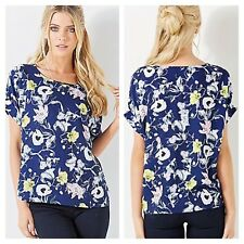 Darling @ Look Again Sz 10 Navy Lime Floral Print TOP Occasion Evening Party £45