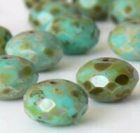 ++ Turquoise Picasso Donut Czech Glass Beads, 11mm 12 Pcs Faceted Rondelles