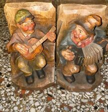 Italian Antique Wooden Handcarved/Handpainted Musicians Bookends Rare