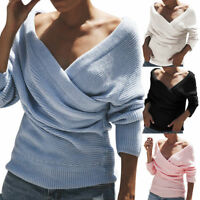Women Wrap V Neck Tops Sweater Jumper Ladies Long Sleeve Knitted Pullover Blouse