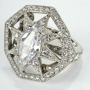 Signed GIVENCHY Silver Plated Glass or Crystal Star Cocktail Statement Ring