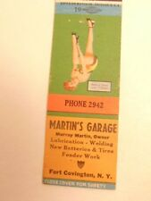 match book cover w/ pin-up style girl :ad for Martin's Garage,Ft. Covington, NY