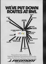 PIEDMONT AIRLINES 1983 WE'VE PUT DOWN ROUTES AT BWI BALTIMORE AD