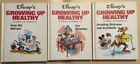 Lot of 3 Vintage 1976 Disneys Growing Up Healthy Walt Disney Hard Cover Books