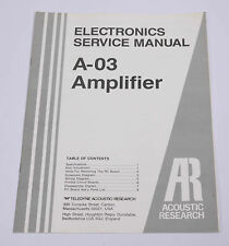 Acoustic Research A-03 service manual