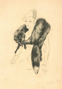 Violet Birch - 1972 Pen and Ink Drawing, Lady with Fur Shawl