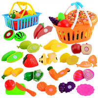 24Pcs Kids Fun Pretend Role Play Kitchen Fruit Food Toy Cutting Vegetable Gift