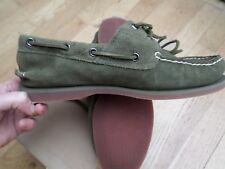 Timberland Classic 2 Eye Mens Boat Shoe Olive Green Leather Suede Size: UK 8.5