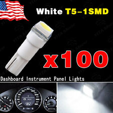 100x Pure White T5 5050 SMD LED Interior Dashboard Instrument Panel Light Bulbs