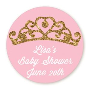 Gold Glitter Tiara Pink - Round Personalized Baby Shower/Birthday Sticker Labels