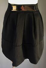 NWOT MIKA & GALA Black Pleated Mini Skirt w Gold Plate Trim at Waist Size 8