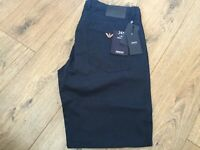 Armani Jeans AJ chino short canvas 30-38 metal eagle pocket navy blue bnwt