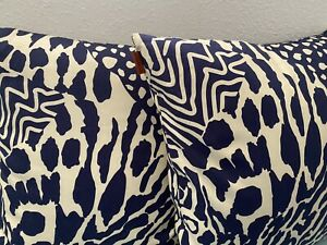 LOT OF 2!! MISSONI NAVY PILLOWS - Duck Feather Filling