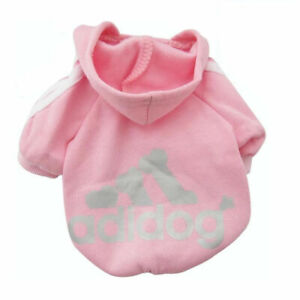 Adidog Small Dogs Puppy Apparel Hoodie Sweater T Shirt Jumpsuit Pet Hoodie, PINK