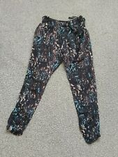 WOMANS DOROTHY PERKINS BLACK MIX PATTERN TAPERED TROUSERS TIE SIDE BELT SIZE 10