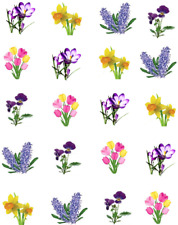 Flowers Spring Mix Waterslide Nail Decals/art