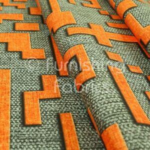 Grey Background Orange Geometric Pattern Printed Velour Velvet Upholstery Fabric