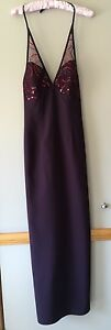 Ladies EVENTS Formal Dress Size 6 Brand New Sequins Halter Fully Lined Dk Purple