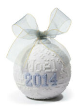 More details for sale lladro 2014 christmas ball with blue ribbon - christmas ornament