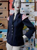 Blazer S M 70er Jacke Space Age  Navy pink silber  TRUE VINTAGE 70s funky jacket