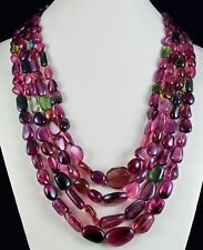 4 LINE 1543 CTS NATURAL MULTI COLOR TOURMALINE CABOCHON TUMBLE BEADS NECKLACE