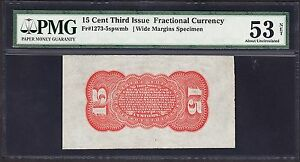 US 15c Fractional Currency Specimen Red Back spwmb FR 1273sp PMG 53 Ch AU Net