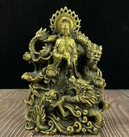 """9.6"""" Chinese Copper Kwan-Yin Guan Yin Boddhisattva Goddess Dragon Lotus Statue"""