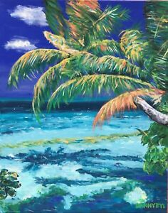 Sea BEACH Tropical Palms Original Art PAINTING DAN BYL Modern Contemporary 4x5ft