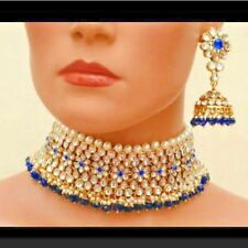 Gold Plated Kundan Choker Necklace Set Bollywood Bridal Indian Pearl Jewelry 1