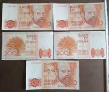 5 billetes de 200 pts 1980 EXCELENTE ESTADO SS